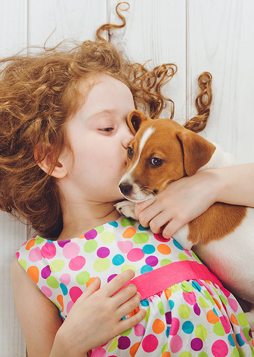 girl laying down hugging terrier puppy